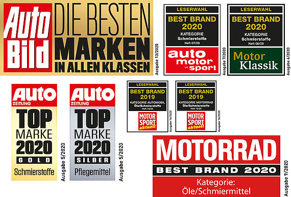 [Translate to Dänisch:] Four surveys, four titles, one series: LIQUI MOLY is the most popular oil brand in Germany.