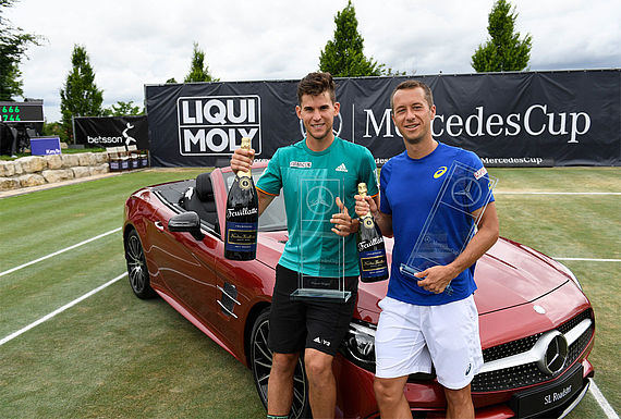 Dominic Thiem (left) defeated Philipp Kohlschreiber in the final of the MercedesCup 2016.